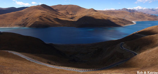 Yamdrok Tso, the scorpion lake seen during Tibet overland tour