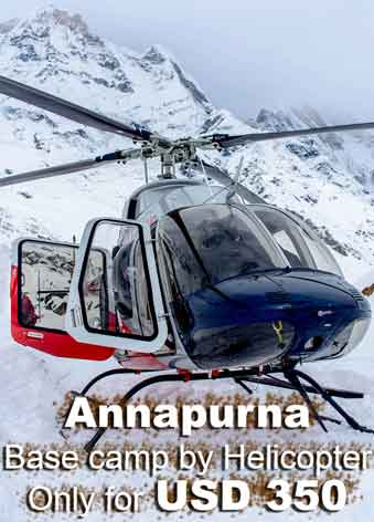 Group joining Helicopter tour of Annapurna base camp