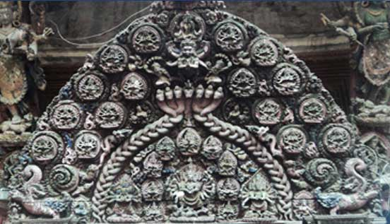Intricate wood carving from Bhaktapur palace square.