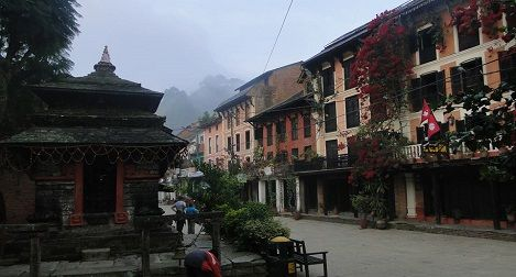 The Bandipur tour with Newari style houses and temple.