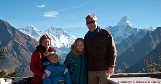 Dabrowaski family at Everest view Hotel after Helicopter tour of Everest base camp.