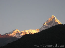 Sunset on Mt. Fishtail as seen from Ghale Kharka