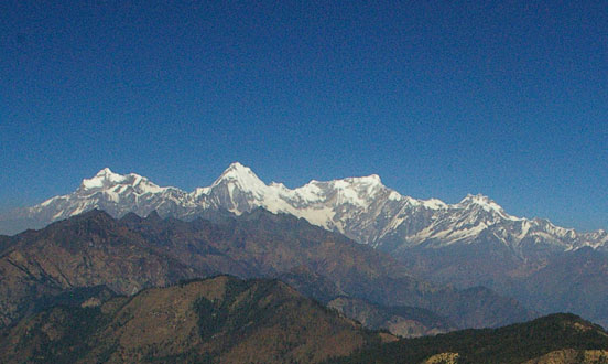 Ganesh Himal and other mountain ranges seen from the trek.