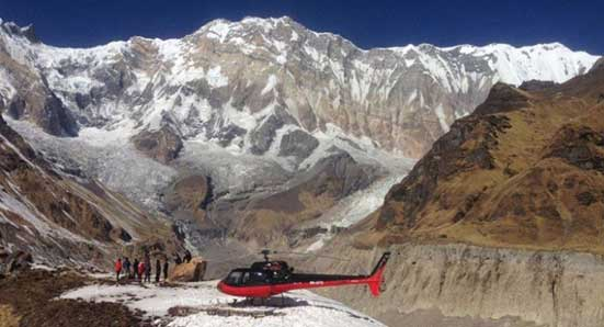Helicopter day trip to Annapurna base camp.
