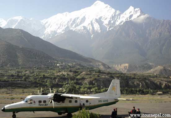 jomsom airport with background of Nilgiri Himal; the gateway of lower Mustang trek