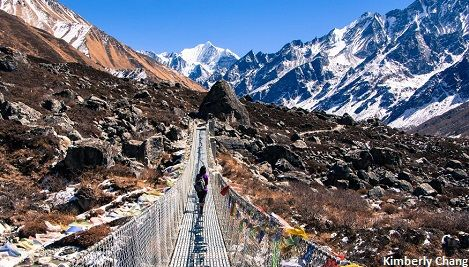 Crossing suspension bridge to Langtang