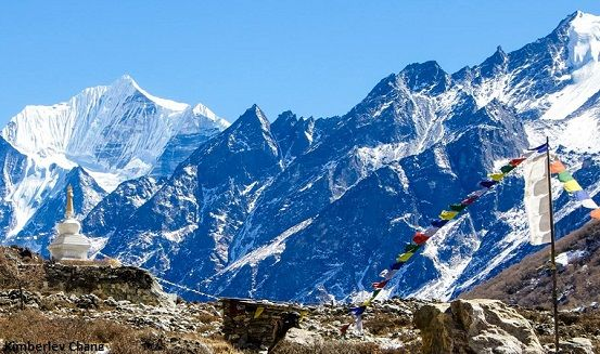 Langtang valley with Langtang Lirung in the backdrop