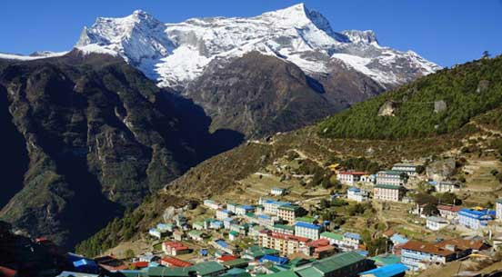Namche bazaar at 3,440 m on the way to Everest base camp