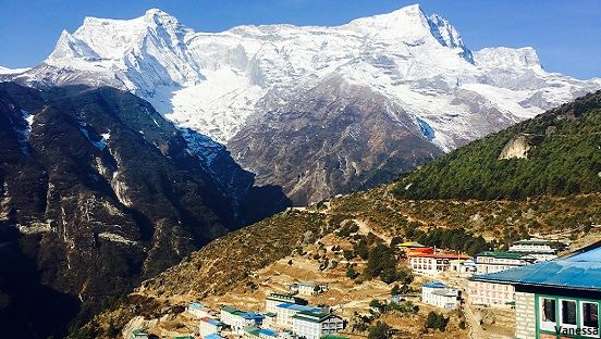 Namche bazaar with Kongde peak