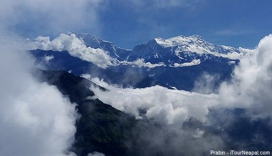 Annapurna seen amid clouds in July
