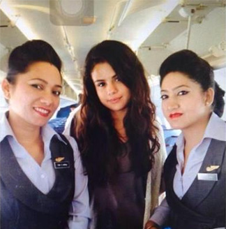 Selena Gomez with Buddha air crew.