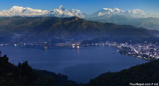 Pokhara view with Phewa Lake and the Annapurna Himalaya.
