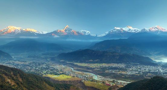 snow peaks of Annapurna during sunrise seen from Sarangkot Pokhara.